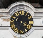 Orologio d'annata della torre con i numeri romani Fotografia Stock Libera da Diritti