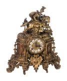 Orologio d'ottone equestre antico del manto su bianco immagine stock libera da diritti