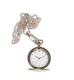 Orologio da tasca aperto su una catena Immagini Stock Libere da Diritti