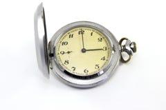Orologio da tasca d'annata su fondo bianco Fotografie Stock Libere da Diritti