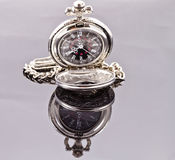 Orologio da tasca d'argento Immagini Stock