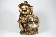 Orologio da tavolino piggy Fotografia Stock Libera da Diritti