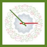 Orologio decorativo che mostra tempo di mangiare Fotografia Stock