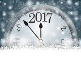Orologio 2017 dei fiocchi di neve di Gray Christmas Card Cover Winter Fotografie Stock