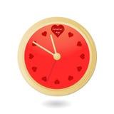 Orologio del biglietto di S. Valentino con i cuori Royalty Illustrazione gratis