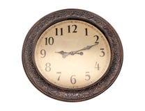 orologio del ` di 9 o sugli orologi di parete bianchi Isolato su priorità bassa bianca fotografia stock libera da diritti