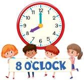 Orologio del ` di otto o con i bambini illustrazione di stock
