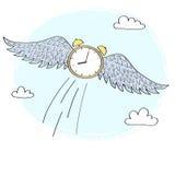 Orologio del fumetto con le ali che volano nel cielo Fotografie Stock Libere da Diritti