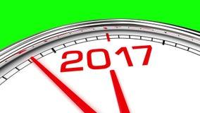 Orologio del nuovo anno 2017 (schermo verde) illustrazione vettoriale