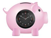 Orologio del porcellino salvadanaio Immagine Stock