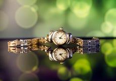 Orologio del vecchio oro Fotografie Stock Libere da Diritti