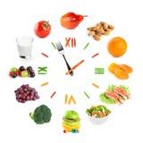 Orologio dell'alimento con la frutta fresca, le verdure e l'alimento sano fotografie stock