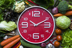 Orologio dell'alimento Concetto sano dell'alimento Fotografia Stock