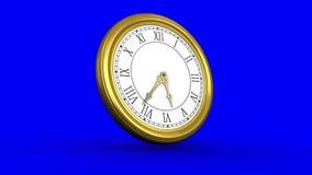 Orologio dell'oro su fondo blu archivi video