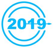 Orologio della data di 2019 blu Fotografie Stock Libere da Diritti