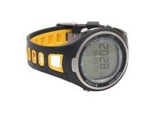 Orologio della mano di sport del pulsometro isolato su bianco Immagini Stock Libere da Diritti
