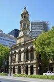 Orologio della torre di Adelaide Town Hall su re William Street Fotografia Stock Libera da Diritti