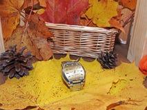 Orologio delle mani sul fondo di autunno Fotografie Stock