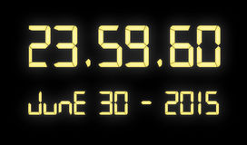 Orologio di Digital con 60 secondi alla mezzanotte Immagini Stock Libere da Diritti