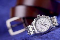 Orologio di lusso dell'uomo per la gente di affari Fotografia Stock