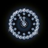 Orologio di natale di festa del diamante Immagine Stock Libera da Diritti