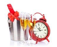 Orologio di natale e di Champagne Fotografia Stock Libera da Diritti