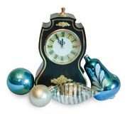 orologio di Nuovo-anno con i giocattoli di natale Fotografia Stock