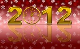 Orologio di nuovo anno felice dell'oro 2012 con i fiocchi di neve Fotografia Stock