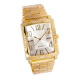 Orologio di oro della donna con i diamanti Fotografia Stock Libera da Diritti