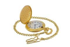 Orologio di oro della tasca Immagini Stock Libere da Diritti