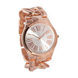 Orologio di oro rosa della donna Fotografia Stock