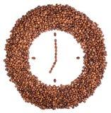 Orologio di parete dei chicchi di caffè Fotografia Stock