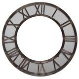 Orologio di parete grigio d'annata con i numeri romani Fotografia Stock