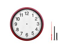 Orologio di parete rosso isolato su un fondo bianco Fotografia Stock