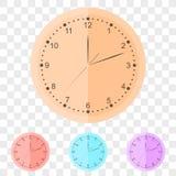 Orologio di parete rotondo nello stile piano illustrazione di stock