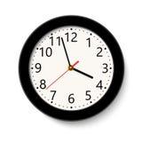 Orologio di parete rotondo nero classico isolato su bianco Illustrazione di vettore immagini stock libere da diritti