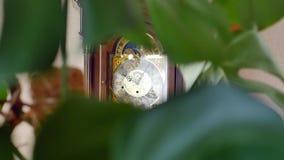 Orologio di prima generazione d'annata che ticchetta sulla parete archivi video
