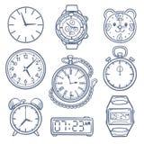 Orologio di scarabocchio, icone di vettore dell'orologio Icone disegnate a mano di vettore di tempo isolate royalty illustrazione gratis