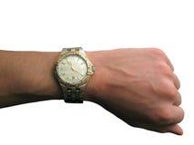 Orologio a disposizione isolato Fotografia Stock Libera da Diritti