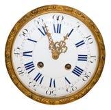 Orologio dorato antico isolato Fotografie Stock Libere da Diritti