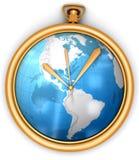 Orologio dorato con il programma globale Fotografie Stock