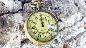 Orologio dorato della tasca stock footage