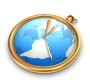 Orologio dorato isolato su bianco Fotografia Stock Libera da Diritti
