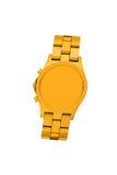 Orologio dorato isolato su bianco fotografia stock
