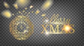Orologio dorato - un simbolo di 2019 anni Decorazione dorata dell'orologio di natale sopra i precedenti trasparenti Cartolina di  immagini stock libere da diritti