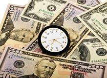 Orologio e dollari Fotografia Stock Libera da Diritti