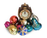 Orologio e giocattoli luminosi di nuovo-yea Fotografie Stock Libere da Diritti