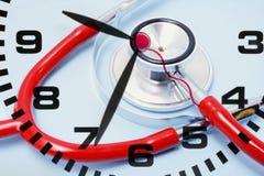 Orologio e stetoscopio Fotografia Stock