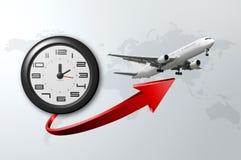 Orologio ed aereo Immagine Stock