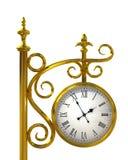 Orologio esterno dell'oro Fotografie Stock Libere da Diritti